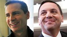 Ontario Liberal Leader Dalton McGuinty and his Progressive Consevative rival Tim Hudak are shown in a photo combination. (REUTERS and THE CANADIAN PRESS)