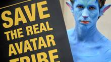 A protester dressed as a 'Na'vi' from James Cameron's film 'Avatar' takes part in a demonstration as British mining giant Vedanta holds it annual general meeting in London, on July 28, 2010. (Ben Stansall/AFP/Getty Images/Ben Stansall/AFP/Getty Images)