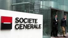 Shares in French bank Société Générale SA hit their lowest point in two and a half years Wednesday, sinking 15 per cent. (REMY DE LA MAUVINIERE/AP/REMY DE LA MAUVINIERE/AP)