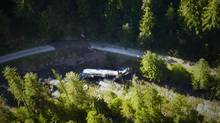 A tanker carrying 35,000 litres of jet fuel is shown on July 27, 2013, after it crashed the day before into Lemon Creek, about 60 kilometres north of Castlegar, B.C. (Benjamin Jordan/The Canadian Press)
