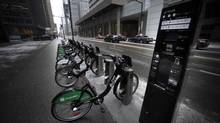 A BIXI bike stand located on King St. West near Bay St., is photographed on Dec. 29, 2011. A number of the self pay bike stands were installed in parts of downtown Toronto in 2011. (Fred Lum/The Globe and Mail)