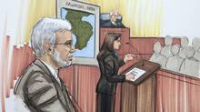 In this courtroom sketch, Chicago businessman Tahawwur Rana is shown in federal court as the prosecutor makes an opening argument Monday, May 23, 2011, in Chicago. (Tom Gianni/AP/Tom Gianni/AP)