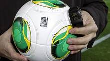 The goal-line monitoring device is demonstrated before the Club World Cup in Japan (Shuji Kajiyama/The Associated Press)