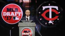 Commissioner Rob Manfred announces the Minnesota Twins selection of Royce Lewis with the No. 1 pick in the first round of the MLB draft, in Secaucus, N.J., on June 12, 2017. (Julio Cortez/AP Photo)