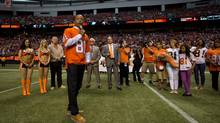 Former B.C. Lions' receiver Geroy Simon speaks during a ceremony where the CFL team retired his number 81 during halftime of their game against the Winnipeg Blue Bombers in Vancouver, B.C., on Friday July 25. (DARRYL DYCK/THE CANADIAN PRESS)