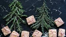 Chocolate dipped candied peel and Savoury rosemary thyme Parmesan shortbread. (photos by Stephanie Eddy for The Globe and Mail)