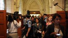 Members of the media are seen on Parliament Hill in Ottawa in this file photo. (Dave Chan For The Globe and Mail)