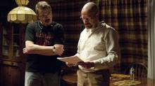Vince Gilligan, left, and star Bryan Cranston wrap up the final episode of Breaking Bad. (Sony Pictures/Gregory Peters)