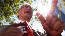 Fight HST leader Bill Vander Zalm holds the boxing gloves that were awarded to him after his referendum campaign successfully scrapped B.C.'s harmonized sales tax on Aug. 26, 2011. (RAFAL GERSZAK FOR THE GLOBE AND MAIL)