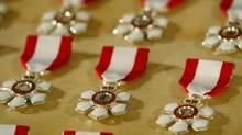 Order of Canada medals at the investiture ceremony at Winnipeg's Fort Garry Hotel on Saturday November 30, 2002. (Marc Gallant/CP)