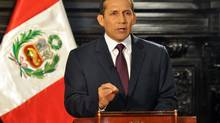 Peru's President Ollanta Humala speaks during a nationwide address in Lima June 23, 2012. (© Handout/REUTERS)