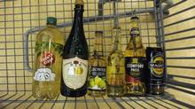 Bottles of cider are photographed at the LCBO store on Queens Quay in Toronto on June 5, 2012. From left are County Cider, Crémant St. Nicholas Sparkling Light Cider, Growers Granny Smith Apple, Alexander Keith's Original Cider, Stowford Press Export and Magners Cider. (Fred Lum/Fred Lum/The Globe and Mail)