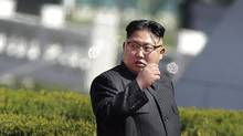 North Korean leader Kim Jong Un arrives for the official opening of the Ryomyong residential area, on Thursday, April 13, 2017, in Pyongyang, North Korea. Japan's Prime Minister Shinzo Abe, speaking Thursday at a parliamentary panel on national security and diplomacy, warned that North Korea may be capable of firing a missile loaded with sarin nerve gas toward Japan. (AP Photo/Wong Maye-E) (Wong Maye-E/AP)