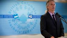 B.C. Teachers' Federation president Jim Iker speaks during a news conference in Vancouver, B.C., on Thursday May 22, 2014. (DARRYL DYCK/THE CANADIAN PRESS)