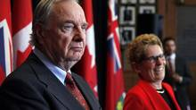 Former prime minister Paul Martin joins Ontario premier Kathleen Wynne in a press conference announcing at Queen's Park on Jan. 22, 2014. (FERNANDO MORALES/THE GLOBE AND MAIL)