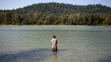 A man fishes the Fraser River for Salmon near Mission, British Columbia on September 16, 2014. (Ben Nelms For The Globe and Mail)