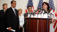 Canadian citizen Shona Holmes (R) joins members of the House Republican leadership (L-R) Rep. Roy Blunt (R-MO), Minority Leader John Boehner (R-OH), Rep. Judy Biggert (R-IL) and Minority Whip Eric Cantor (R-VA) for a brief news conference about health care policy at the U.S. Capitol July 23, 2009 in Washington, DC. (Chip Somodevilla/2009 Getty Images)