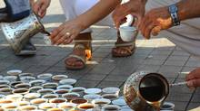 Participants pour coffee in Istanbul to commemorate the 1995 Srebrenica genocide on July 11, 2012. (Amel Beslagic/Courtesy Aida Sehovic)