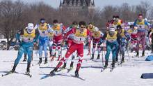 Canada's Alex Harvey (1) takes an early lead during the Men's 15 km Classic Mass Start, on March 18, 2017 at the FIS World Cup cross country finals in Quebec City. (Jacques Boissinot/THE CANADIAN PRESS)