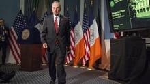 New York Mayor Michael Bloomberg walks from the podium after delivering the 2014 city budget in the Blue Room of New York's City Hall, in this file photo from May 2, 2013. Bloomberg gives his final major policy speech December 18, 2013, two weeks before he steps down after three terms in office. (Richard Drew/REUTERS)