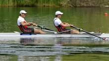 Dave Calder and Scott Frandsen, from left, of Canada, on the way to the second place in the Mens Double Final A race at the World Rowing Cup on Lake Rotsee in Lucerne, Switzerland on May 27. (Sigi Tischler/AP)
