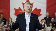 Conservative Leader Stephen Harper addresses a crowd at the College of Applied Arts and Technology at a campaign stop in Sault Ste. Marie, Ont., on April 25, 2011. (Adrian Wyld/The Canadian Press/Adrian Wyld/The Canadian Press)