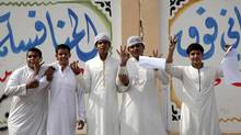 Saudi students react after their literature exam outside Othman Bin Afan school in Jeddah, in this 2007 file photo. (STR/REUTERS/Susan Baaghil)