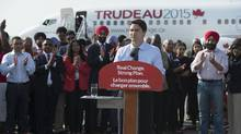 Liberal Leader Justin Trudeau makes an announcement during a federal election campaign stop in Mississauga, On. Monday, Sept, 7 2015. (JONATHAN HAYWARD/THE CANADIAN PRESS)