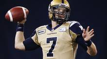 Winnipeg Blue Bombers' Alex Brink throws a pass against the Toronto Argonauts during the second half of their CFL football game in Toronto on July 18. (MARK BLINCH/REUTERS)
