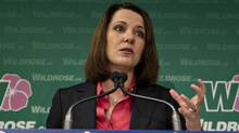 Wildrose leader Danielle Smith announces the fifth and final Wildrose pledge called the Alberta Accountability Act in Edmonton on April 9, 2012. (JASON FRANSON/THE CANADIAN PRESS)