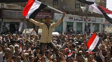 Anti-government protesters demonstrate outside Sanaa University to demand the ouster of Yemen's President Ali Abdullah Saleh March 2, 2011. (Khaled Abdullah/Khaled Abdullah/REUTERS)