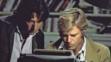 Robert Redford, right, and Dustin Hoffman as reporters Bob Woodward and Carl Bernstein in the 1976 film All the President's Men. (Globe files/Globe files)