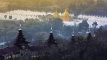 Sandamuni Pagoda in Mandalay, Myanmar, is seen before sunrise. (istockphoto)