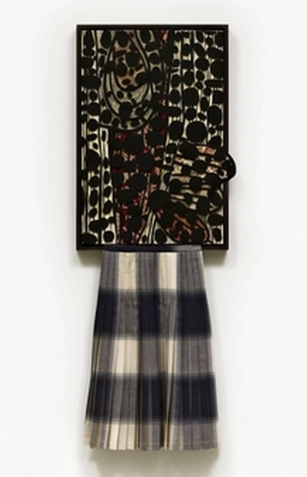 Lyse Lemieux's Skirted Baroque, 2015, features a custom wood frame, acrylic, ink, wool felt on paper and a wool tartan skirt.