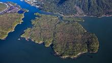 Pacific NorthWest LNG is proposing to build an export terminal on Lelu Island, foreground. (Pacific NorthWest LNG)