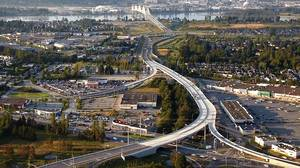 Roadways leading to Golden Ears Bridge-North, a project by McElhanney Group.