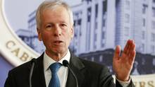 Canada's Foreign Minister Stephane Dion speaks during a news conference in Kiev, Ukraine, on Feb. 1. (VALENTYN OGIRENKO/REUTERS)