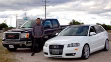 Sailor Kevin Stittle, his Audi A3, and his GMC Sierra. (Karri Siemms)