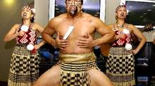 New Zealand traditional Maori dancers perform to kick off a month-long New Zealand promotion at the Dnata Airline Centre holiday lounge in Dubai, May 1, 2005. (Anwar Mirza/REUTERS)