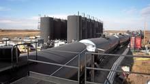 Tanker cars take on crude oil at the Altex Energy facility in Lashburn, Sask. (Altex Energy/Altex Energy)