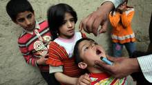 A health worker administers the polio vaccine to a child in Kabul, Afghanistan. (Majid Saeedi/Majid Saeedi/Getty Images)