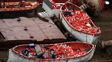 Lifeboats from the Queen of the North sit on the deck of the Canadian Coast Guard vessel Sir Wilfred Laurier while on route to Prince Rupert, B.C., on March 22, 2006. Family members of the two victims have started to testify at the ferry sinking trial. (RICHARD LAM/THE CANADIAN PRESS)