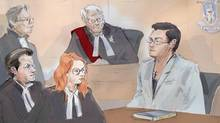 In this courtroom sketch, Karim Baratov, right addresses the court as his lawyer Amedeo Dicarlo, bottom left, Crown Heather Graham, second from left, lawyer Deepak Paradkar, top left, and Justice Alan Whitten look on at Baratov's bail hearing in Hamilton, Ont., on April 5, 2017. (Alexandra Newbould/THE CANADIAN PRESS)
