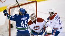 Vancouver Canucks centre Michael Chaput (45) celebrates his goal past Montreal Canadiens goalie Carey Price (31) during third period NHL action in Vancouver, B.C., Tuesday, March. 7, 2017. (JONATHAN HAYWARD/THE CANADIAN PRESS)