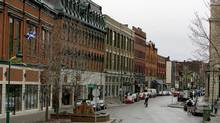 Downtown Sherbrooke, Que., in this 2006 file photo. At the municipal level, a study says residents of Sherbrooke have the highest life satisfaction. Overall, people living in Prince Edward Island were the happiest. (Christinne Muschi/Christinne Muschi/The Globe and Mail)