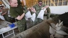 Military from Shilo work to fill and load sandbags in Portage La Prairie, Man., on July 5, 2014. (JOHN WOODS/THE CANADIAN PRESS)