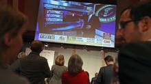 Guests as CNN that shows initial projections for voting results in Florida the U.S. election on November 9, 2016 in Berlin. (Sean Gallup/Getty Images)