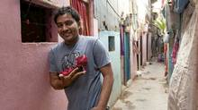 Jameel Shah, 31, ran away from home at 14 and in Mumbai 16 years ago looking for a better future. Now he runs a cobbler shop that specializes in making dance shoes. (Priyam Dhar)