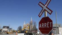 A view of the train tracks in front of Sainte-Agnes Church in Lac Megantic, May 13, 2014. (Christinne Muschi For The Globe and Mail)