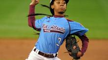 Mid-Atlantic Region pitcher Mo'ne Davis throws a pitch in the first inning against the West Region at Lamade Stadium. (Evan Habeeb/USA Today Sports)